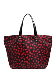 Red Valentino Hearts Printed Nylon Tote Bag