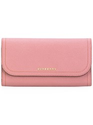 Burberry Logo Plaque Continental Wallet Women Calf Leather One Size Pink Purple