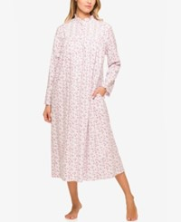 Eileen West Lace Trimmed Printed Ballet Length Nightgown Rose Bud Print
