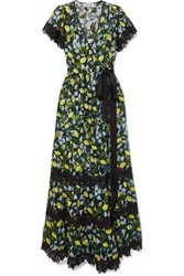 Diane Von Furstenberg Victorious Crocheted Lace Trimmed Embroidered Tulle Wrap Dress Green