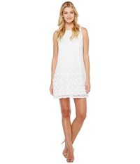 Adrianna Papell Pleated Plaid Dot Trapeze Dress Ivory Women's Dress White