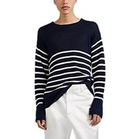 Sies Marjan Striped Linen Oversized Sweater Navy