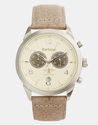 Barbour Beige Chronograph Leather Strap Watch Brown