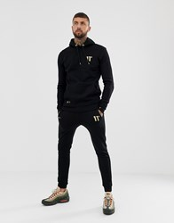 11 Degrees Skinny Joggers In Black With Gold Logo