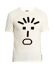 Fendi Faces Print Crew Neck T Shirt White Black