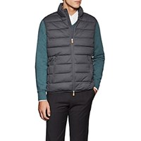 Save The Duck Channel Quilted Tech Fabric Vest Gray