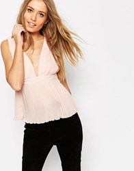 Asos Pleated Plunge Neck Top Blush Pink