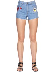 Chiara Ferragni Sequin Embroidered Cotton Denim Shorts