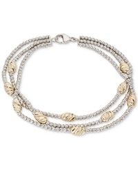 Giani Bernini Two Tone Beaded Multi Row Bracelet In Sterling Silver And 18K Gold Plate Created For Macy's Silver Gold