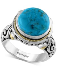 Effy Collection Turquesa By Effy Manufactured Turquoise Ring 5 1 4 Ct. T.W. In Sterling Silver And 18K Gold Blue