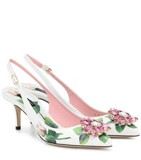 Dolce And Gabbana Floral Leather Slingback Pumps White