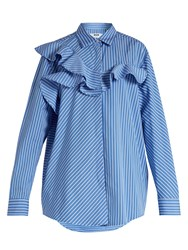 Msgm Ruffle Trimmed Striped Cotton Shirt Light Blue