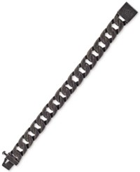 Esquire Men's Jewelry Antique Look Wide Curb Link Bracelet In Stainless Steel First At Macy's Black