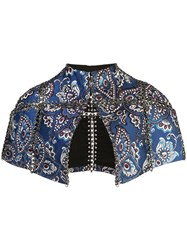 Vera Wang Chain Embroidered Shawl Blue