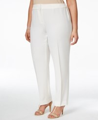 Kasper Plus Size Straight Leg Crepe Pants Vanilla Ice