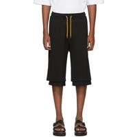 Pyer Moss Black Side Wave Double Layered Shorts