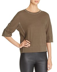 Dkny Pure Elbow Sleeve Crewneck Tee Military
