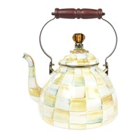 Mackenzie Childs Parchment Check Enamel Tea Kettle Neutral