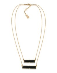 Lauren Ralph Lauren Match Point 12K Gold Plated Black Two Row Rectangle Pendant Necklace