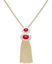 Inc International Concepts Gold Tone Red Stone Tassel Pendant Necklace Only At Macy's