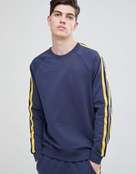 Only And Sons Sweatshirt With Track Stripe Mood Indigo Navy
