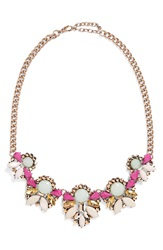 Rove Pearl Crystal Statement Necklace Mint Gold
