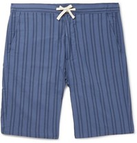 Oliver Spencer Loungewear Striped Organic Cotton Pyjama Shorts Blue