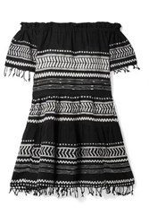 Lemlem Maya Off The Shoulder Embroidered Cotton Gauze Mini Dress Black