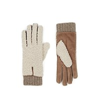 Barneys New York Extended Cuff Shearling And Suede Gloves Beige Tan