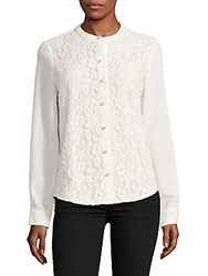 Karl Lagerfeld Floral Lace Button Down Shirt Soft White
