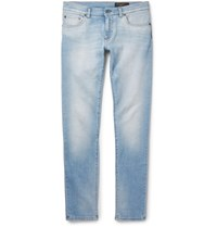 Dolce And Gabbana Slim Fit Faded Washed Stretch Denim Jeans Blue