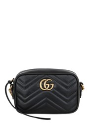 Gucci Mini Gg Marmont 2.0 Leather Camera Bag Black