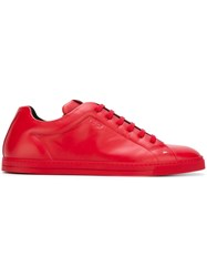 Fendi Classic Lace Up Sneakers Red