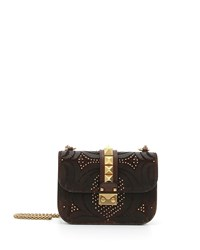 Red Valentino Lock Half Flap Embossed Leather Small Shoulder Bag Dark Brown