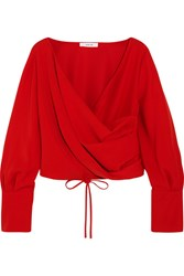 Adeam Wrap Effect Crepe Blouse Tomato Red