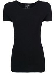 Giorgio Armani Fitted T Shirt Women Polyester Viscose 44 Black
