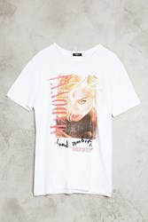 Forever 21 Madonna Graphic Band Tee White Red