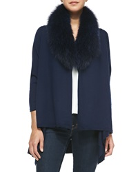Alice Olivia Cashmere Blend Izzy Open Front Cardigan Navy