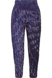 Raquel Allegra Signature Tie Dyed Cotton Blend Jersey Tapered Pants Blue