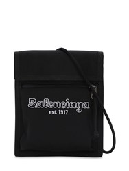Balenciaga Estab Logo Nylon Crossbody Bag Black