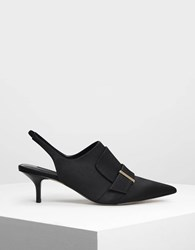 Charles And Keith Kitten Heel Slingback Mules Black