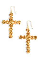 Virgins Saints And Angels Women's Rose Cross Drop Earrings Gold