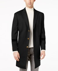 Tallia Men's Slim Fit Peak Lapel Overcoat With Tonal Velvet Trim Black
