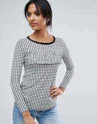 Daisy Street Gingham T Shirt With Ruffle Front Black White