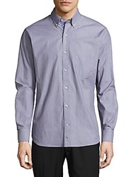 Tailorbyrd Nile River Textured Cotton Shirt Navy