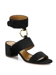 Aquazzura Safari Suede Block Heel Sandals Black Truffle