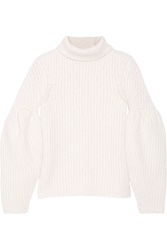 Victoria Beckham Ribbed Stretch Wool Blend Turtleneck Sweater