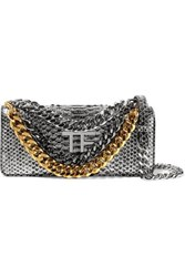Tom Ford Embellished Metallic Python Shoulder Bag Silver
