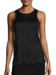 Carven Lace Bottom Cotton Tank Noir