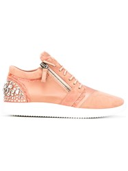 Giuseppe Zanotti Design Crystal Embellished Sneakers Women Leather Satin Rubber 38 Pink Purple